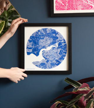 medium blue map print