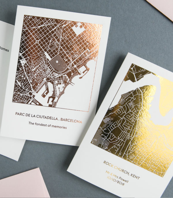 copper and gold map cards