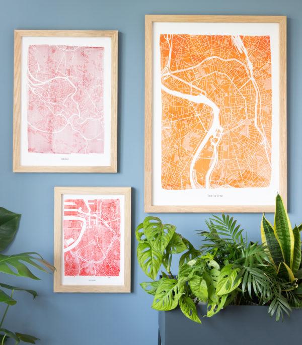 watercolour map prints