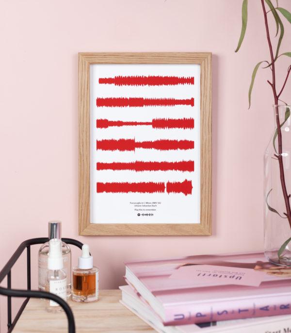 deep red soundwave print