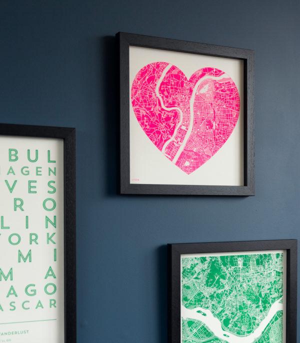 fluoro pink heart map
