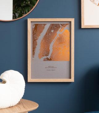 copper on stone metallic map print