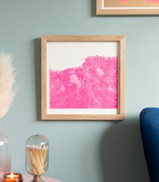 fluoro pink riso city map