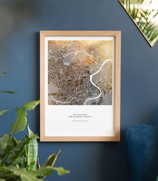 gold on natural metallic map print