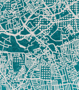 teal map print detail