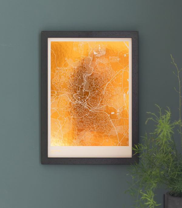 copper on sand map print