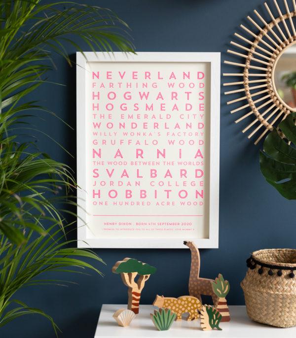 fluoro pink literary destinations print