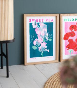sweet pea risograph illustration