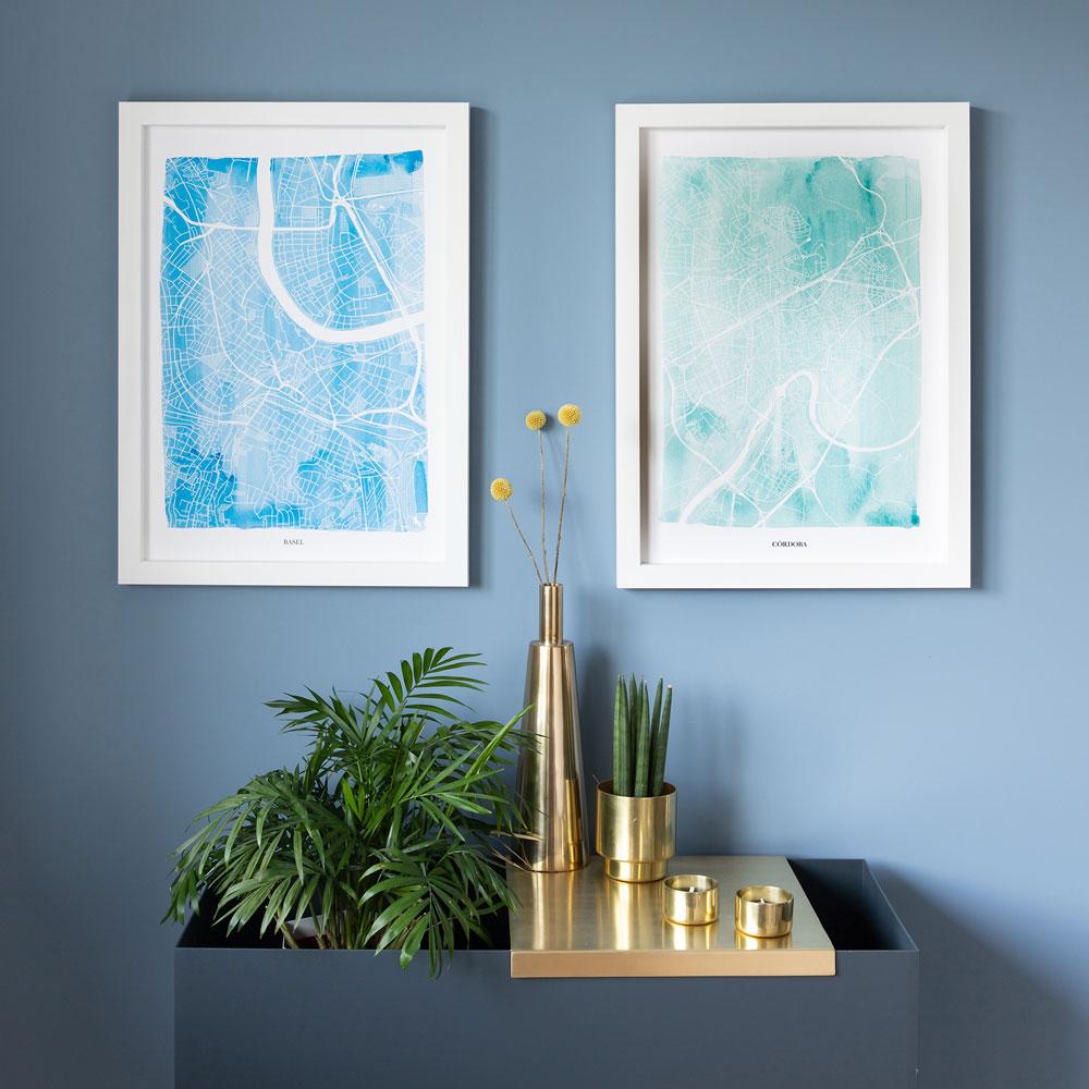 sky aqua watercolour maps